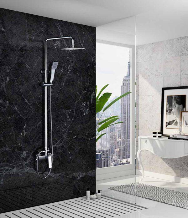 barra de ducha serie art cromado ambiente