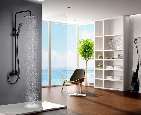 barra de ducha serie art negro ambiente