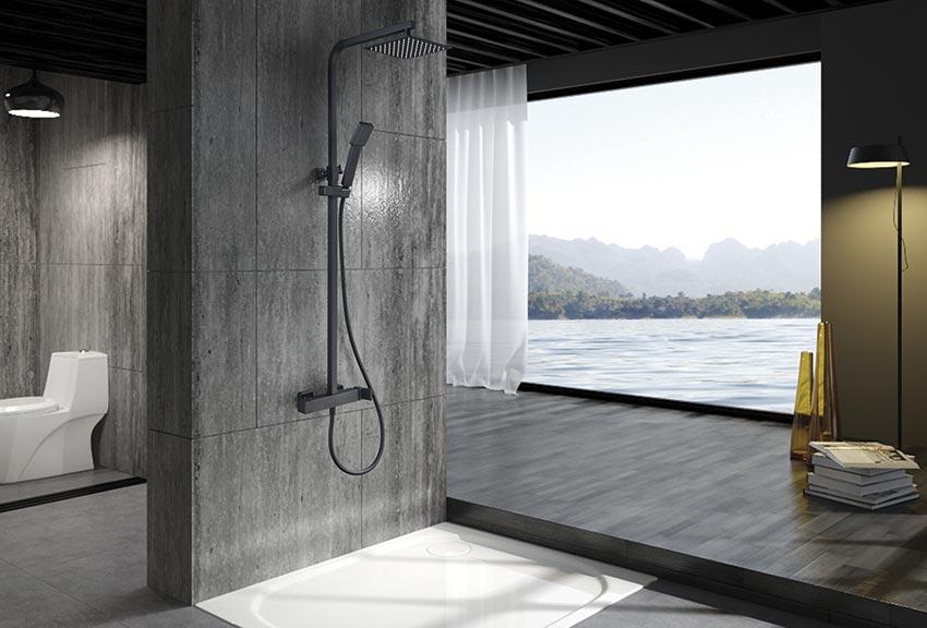 barra de ducha Fiyi negro ambiente