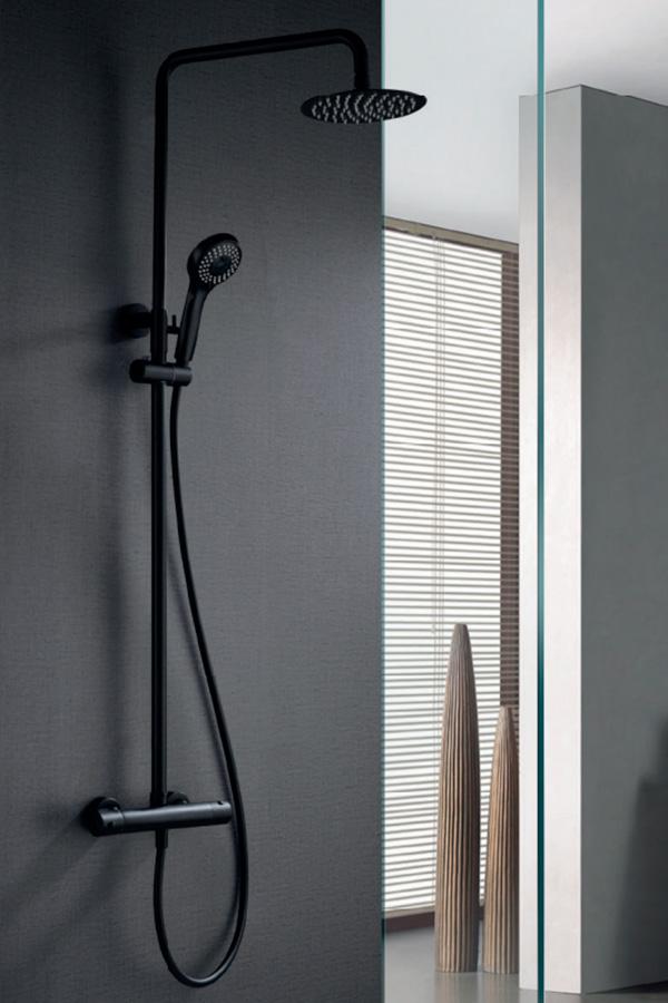 Barra de ducha termostática serie Londres negro
