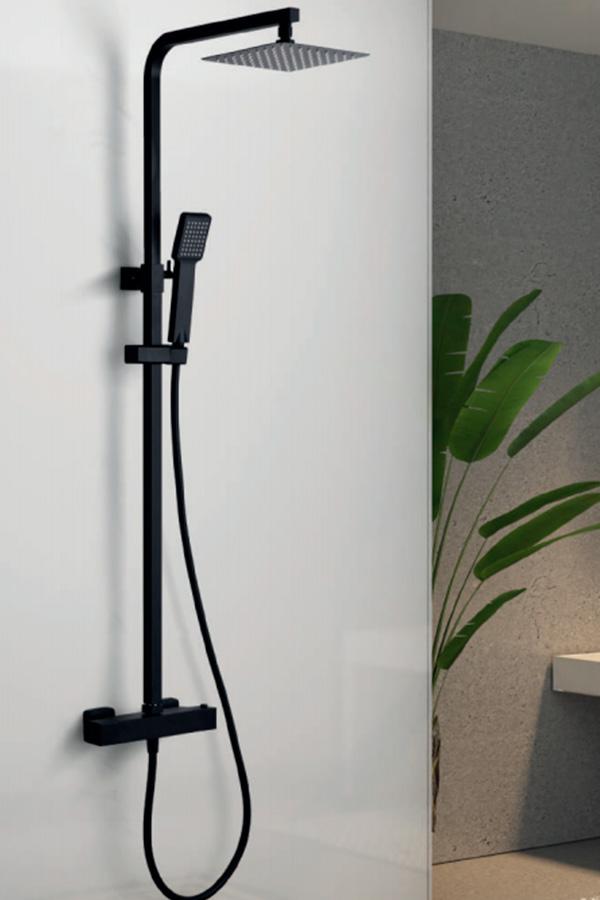 barra de ducha termostática serie Vigo negro