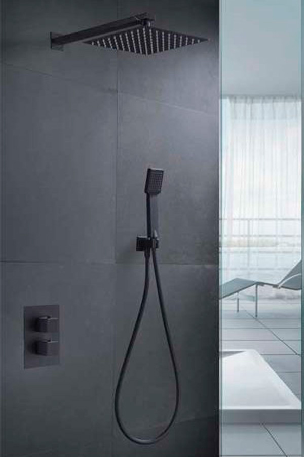 Ducha empotrada termostática serie Cíes negro