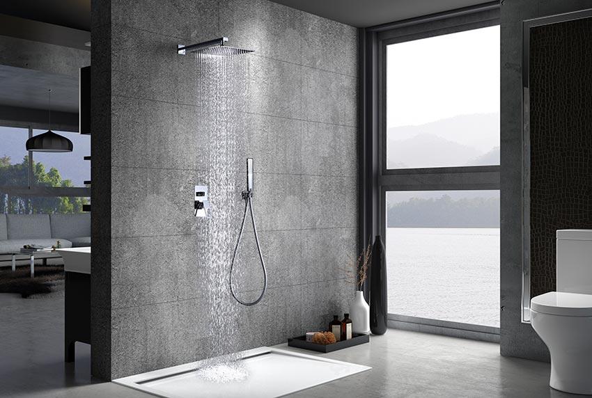 ducha empotrada Suecia cromado ambiente