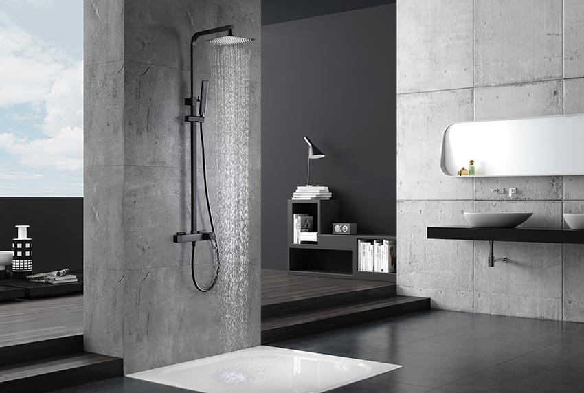 barra de ducha serie Suecia negro ambiente