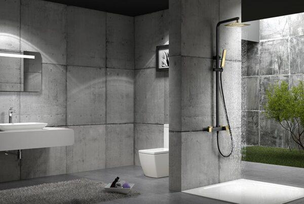 barra de ducha serie Suecia negro oro ambiente