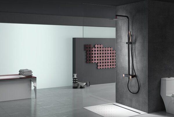barra de ducha serie Suecia negro oro rosa ambiente