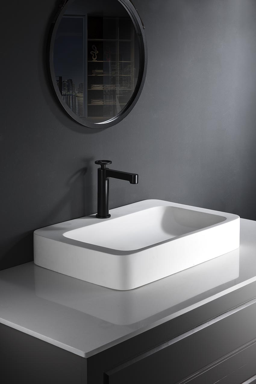 grifo lavabo serie olimpo negro ambiente