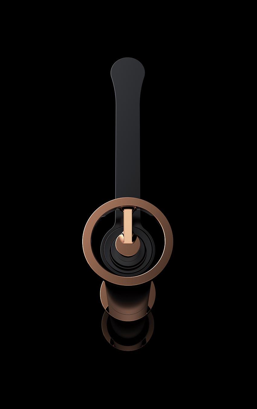 grifo lavabo serie Olimpo oro rosa detalle