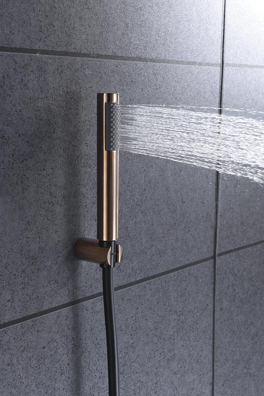 grifo ducha serie olimpo oro rosa detalle