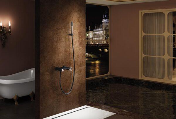 grifo ducha olimpo negro oro rosa ambiente
