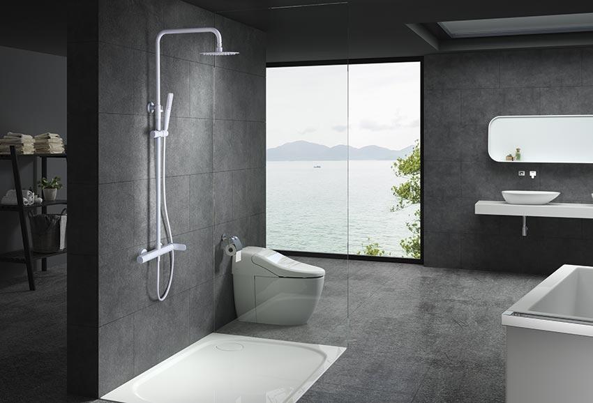 barra de ducha serie Dinamarca blanco ambiente