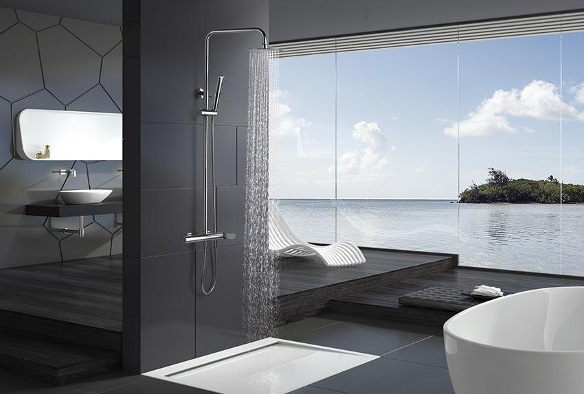 barra de ducha serie Dinamarca cromado ambiente
