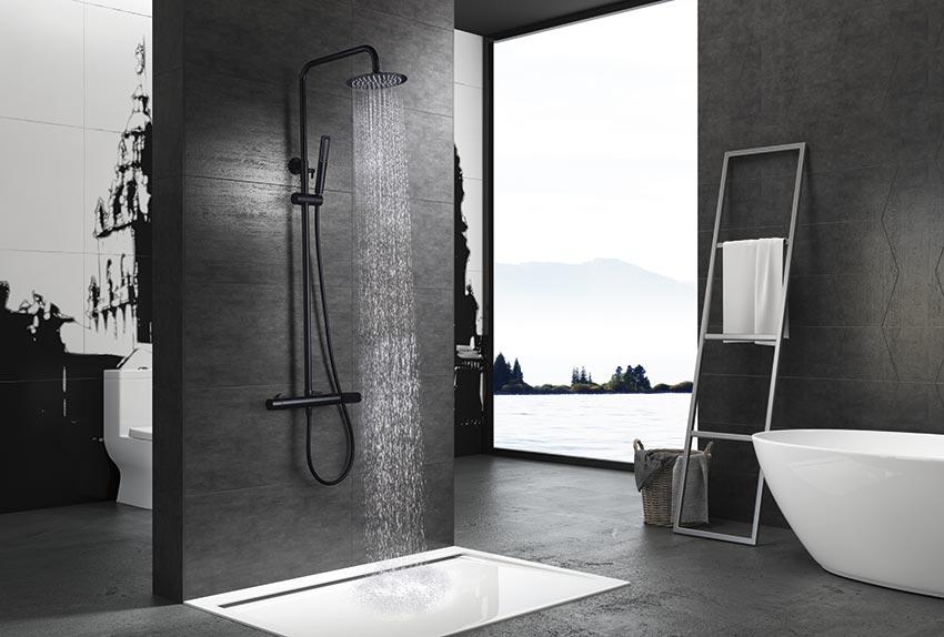 barra de ducha serie Dinamarca negro ambiente
