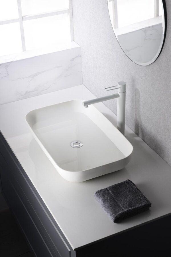 grifo lavabo alto serie milos blanco