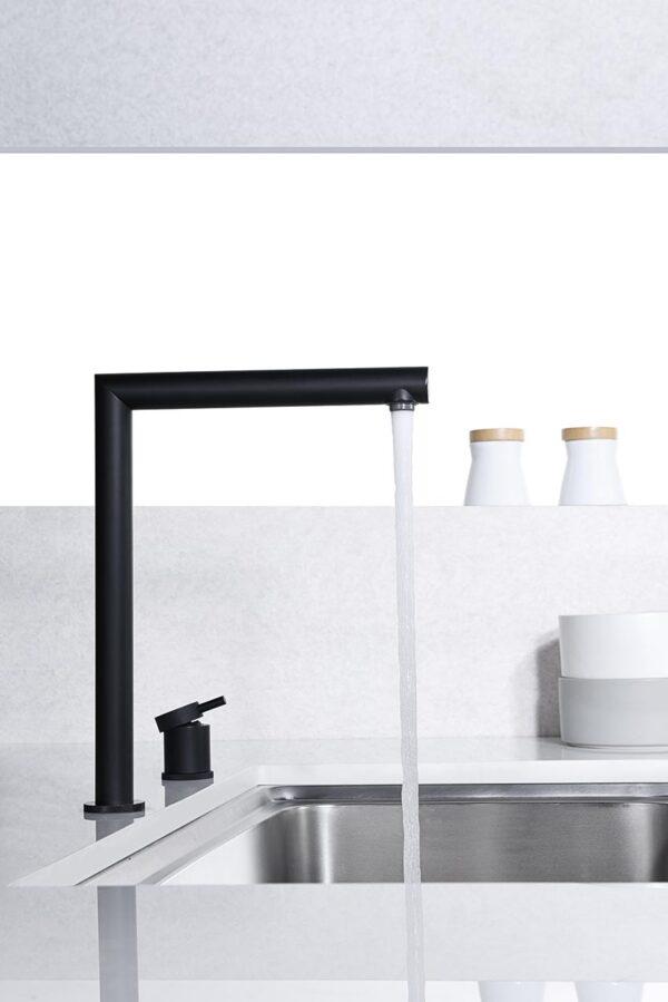 grifo cocina serie itaca negro perfil