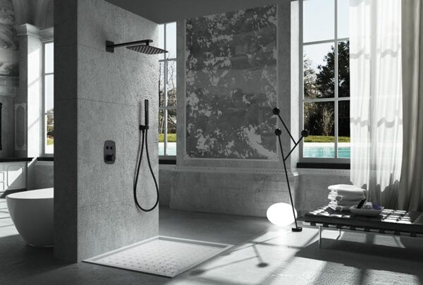 ducha empotrada serie hidra negro ambiente