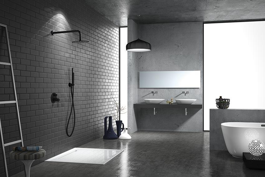 ducha empotrada serie milos negro ambiente