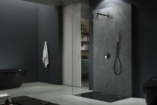 ducha empotrada serie milos negro oro rosa ambiente