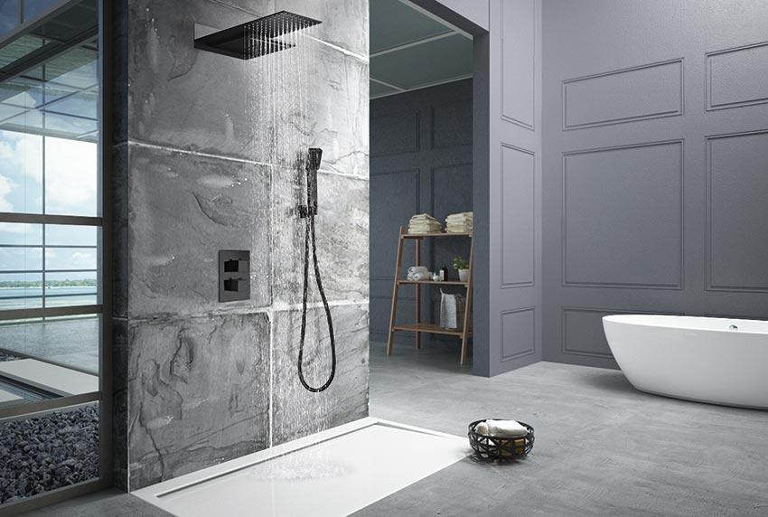 ducha empotrada serie rodas negro ambiente