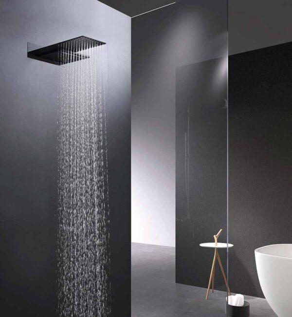 ducha empotrada serie rodas rociador negro