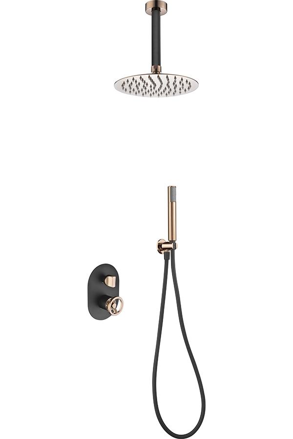 ducha empotrada serie Vesubio negro oro rosa